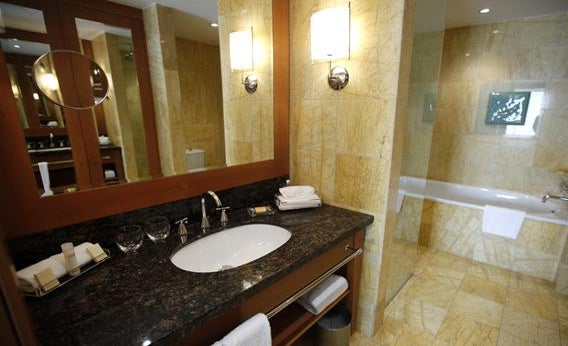 A view of a bathroom at the Hyatt Regency Hotel in Warsaw, March 16, 2012.