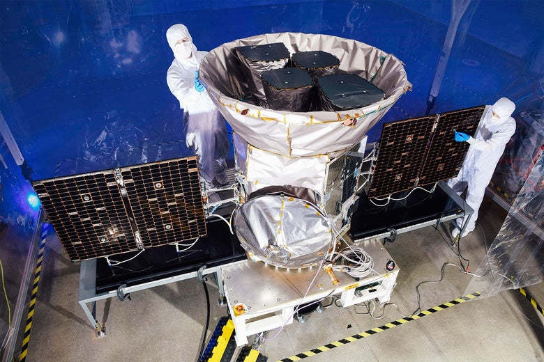 Technicians work on TESS, the Transiting Exoplanet Survey Satellite.