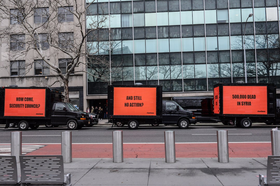 Three billboards circled the United Nations building calling for an immediate cessation of hostilities to allow urgent humanitarian assistance in Syria.
