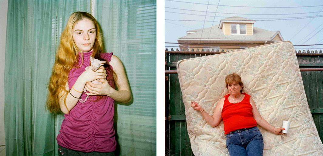 Left: Stephanie and Her New Kitten, 2012. Stephanie lived in a small bungalow apartment she shared with her boyfriend, Joel, and their baby. The bungalows were flooded during Hurrican Sandy and the family has since relocated. Right: Mae and Mattress, 2006. I had met Mae early in teh project, but had not seen her for several years. On this hot summer day, I found her standing in the front yard of Lulu's boarding house on 113th, where she had been living.