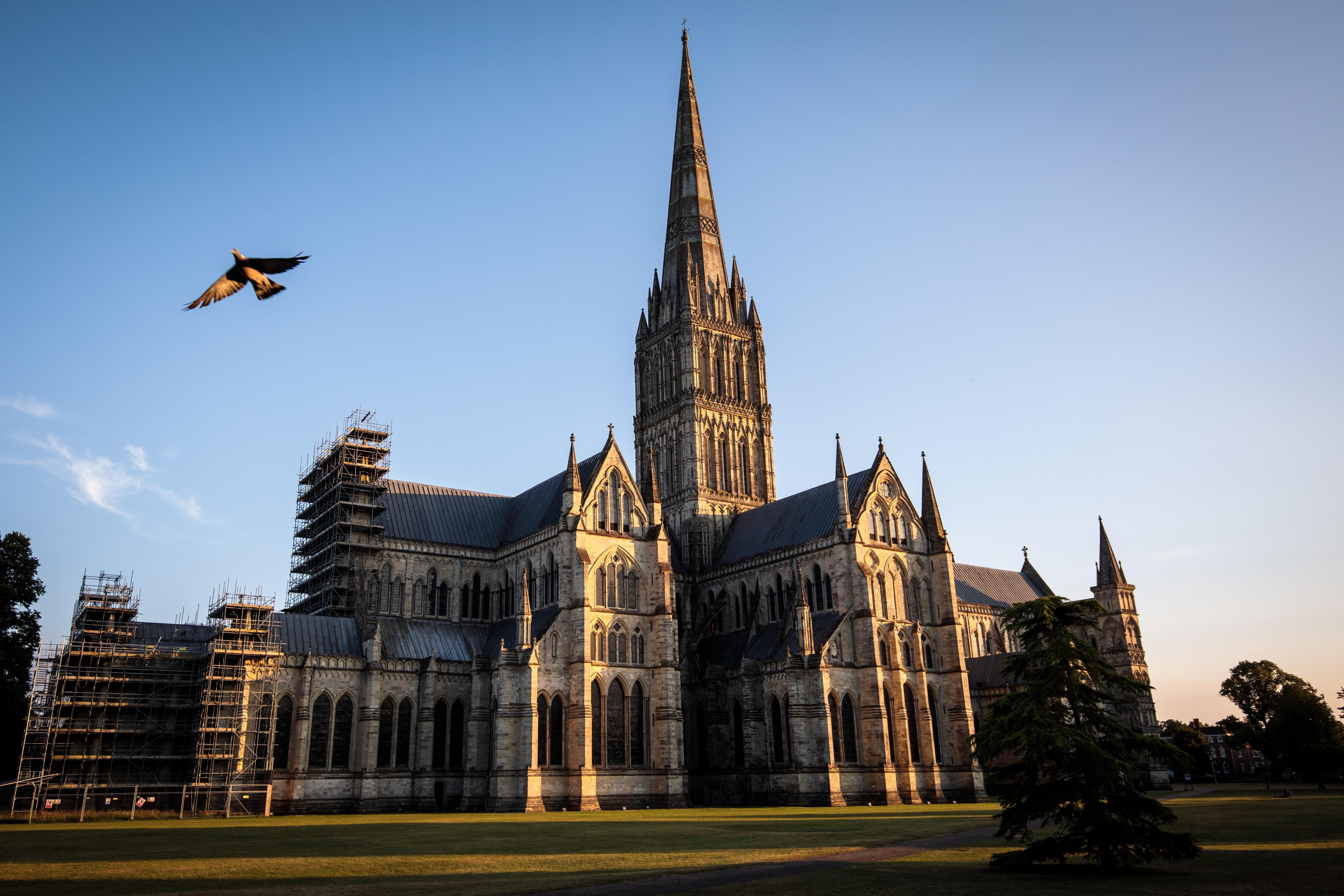 SA pigeon flies past Salisbury Cathedral as the sun sets on July 4, 2018 in Salisbury, England.