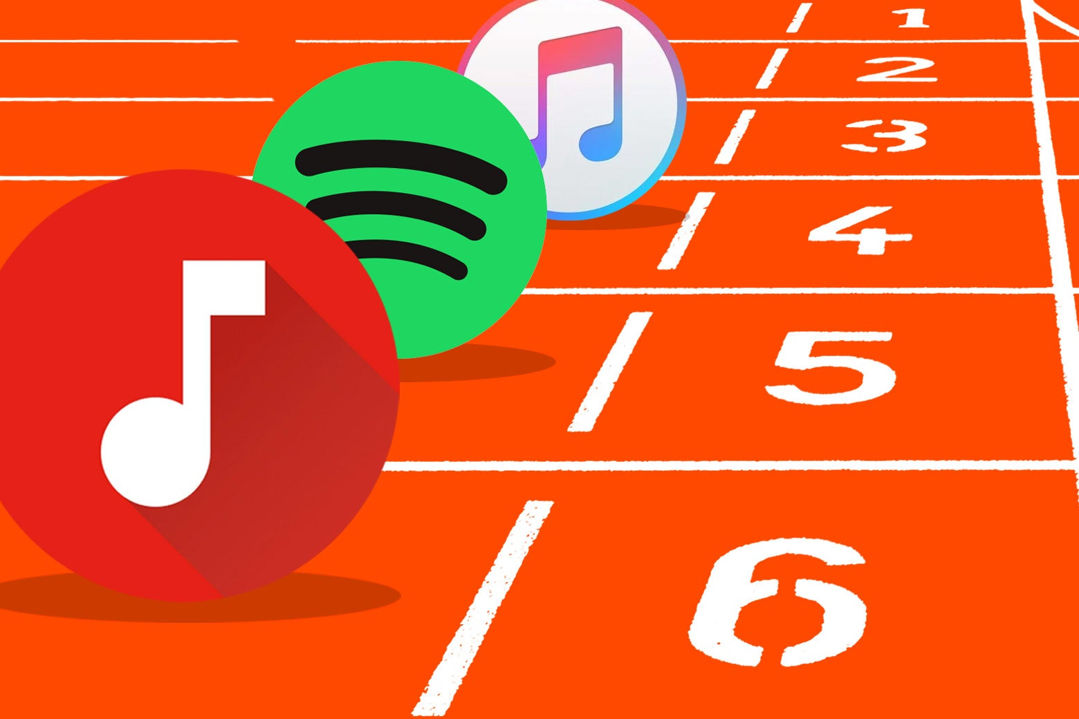 Apple Music, Spotify, and YouTube Music logos at the starting line on a track.
