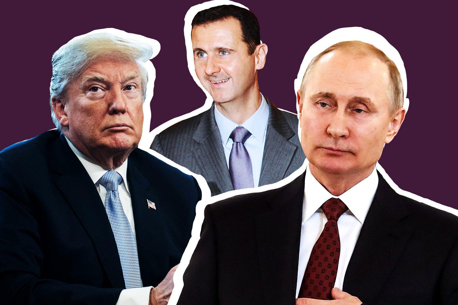 US President Donald Trump, Syrian President Bashar al-Assad, and Russian President Vladimir Putin