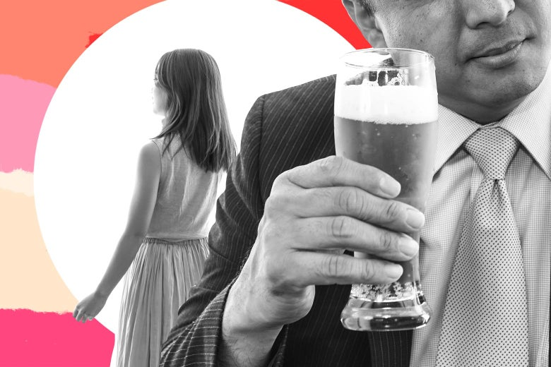 A man in a suit sneaking a beer literally behind his pregnant wife's back