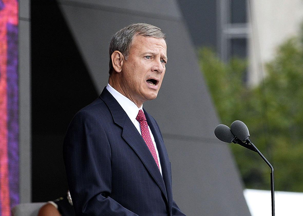 Chief Justice John Roberts speaks at the opening ceremony of the Smithsonian National Museum of African American History and Culture on September 24, 2016 in Washington, DC.