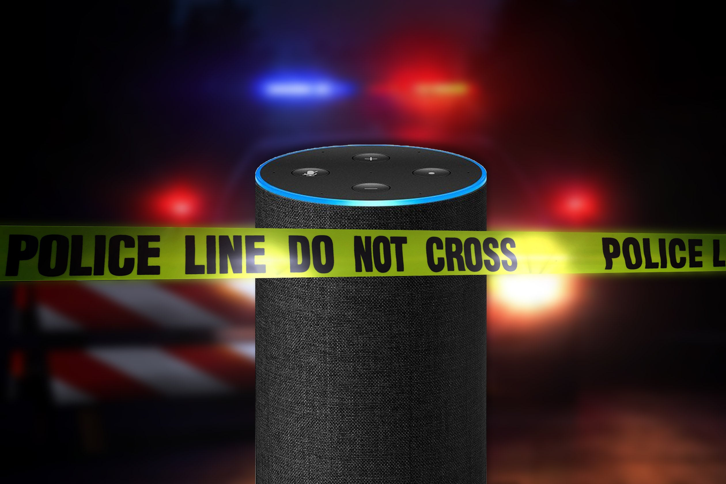 An Amazon Echo at a crime scene.