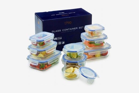 1790 18-Piece Glass Food Storage Container Set.