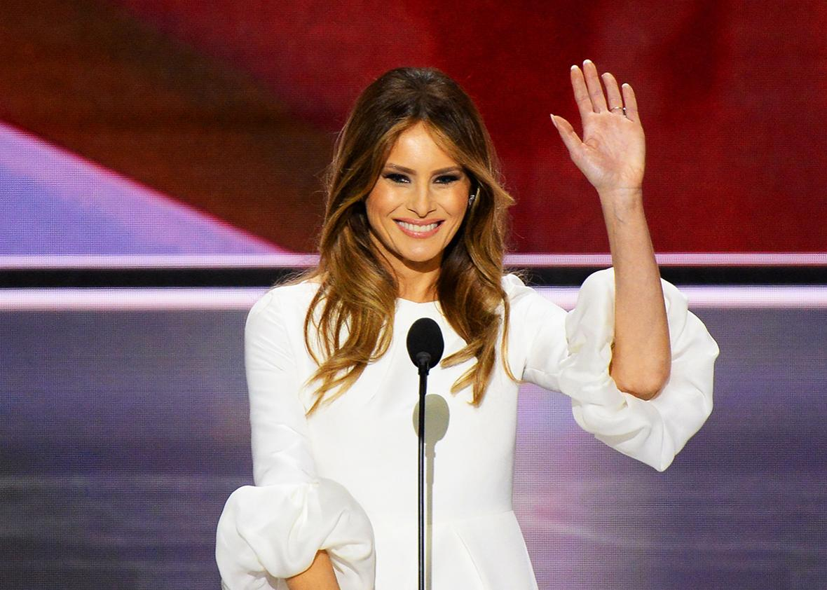Melania Trump, wife of presumptive Republican presidential candidate Donald Trump, addresses delegates on the first day of the Republican National Convention on July 18, 2016 at Quicken Loans Arena in Cleveland, Ohio.