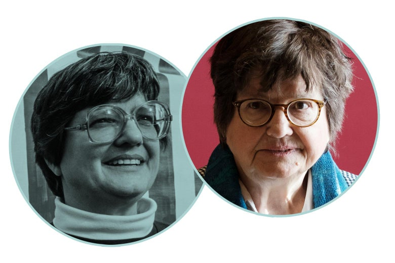 A black-and-white headshot of Prejean in her 40s and a color headshot of Prejean around age 79.
