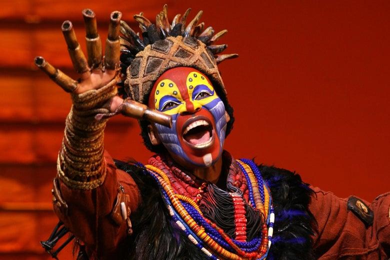 Tshidi Manye as Rafiki in The Lion King.