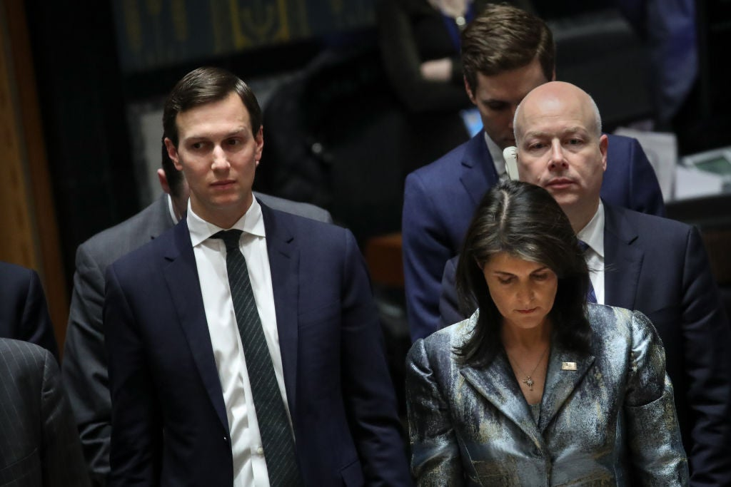 Jared Kushner and U.S. ambassador to the United Nations Nikki Haley in New York on Feb. 20.