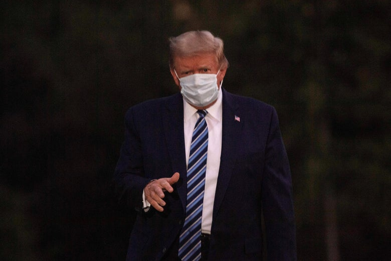 Trump in a white face mask