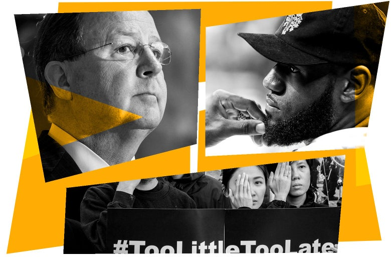 Collage of Bill Flores, LeBron James, and Hong Kong protesters.