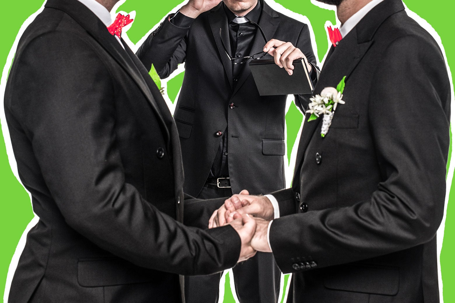 Two men stand to wed while a man officiates the ceremony. Photo illustration by Slate. Photo by Thinkstock.