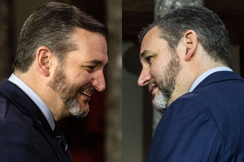 Two images of Ted Cruz's face: his right side, with his beard making a sharp angle at the corner of his jaw, and his left, with a more rounded curve going up to his ear.