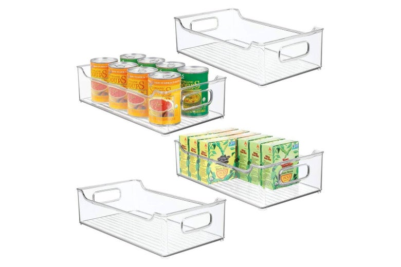 Four wide clear plastic bins