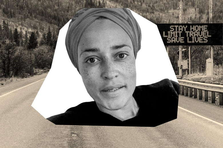 """A cutout of Zadie Smiths' face is seen over a photo of a road featuring a sign that says """"Stay Home. Limit Travel. Save Lives."""""""