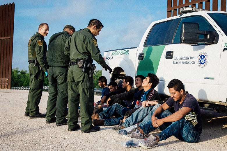 Border Patrol agents apprehend unauthorized immigrants shortly after crossing the border from Mexico into the United States on March 26 in the Rio Grande Valley Sector near McAllen, Texas.