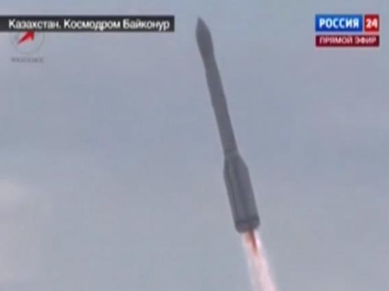 Russian rocket explosion still frame showing dark plume.