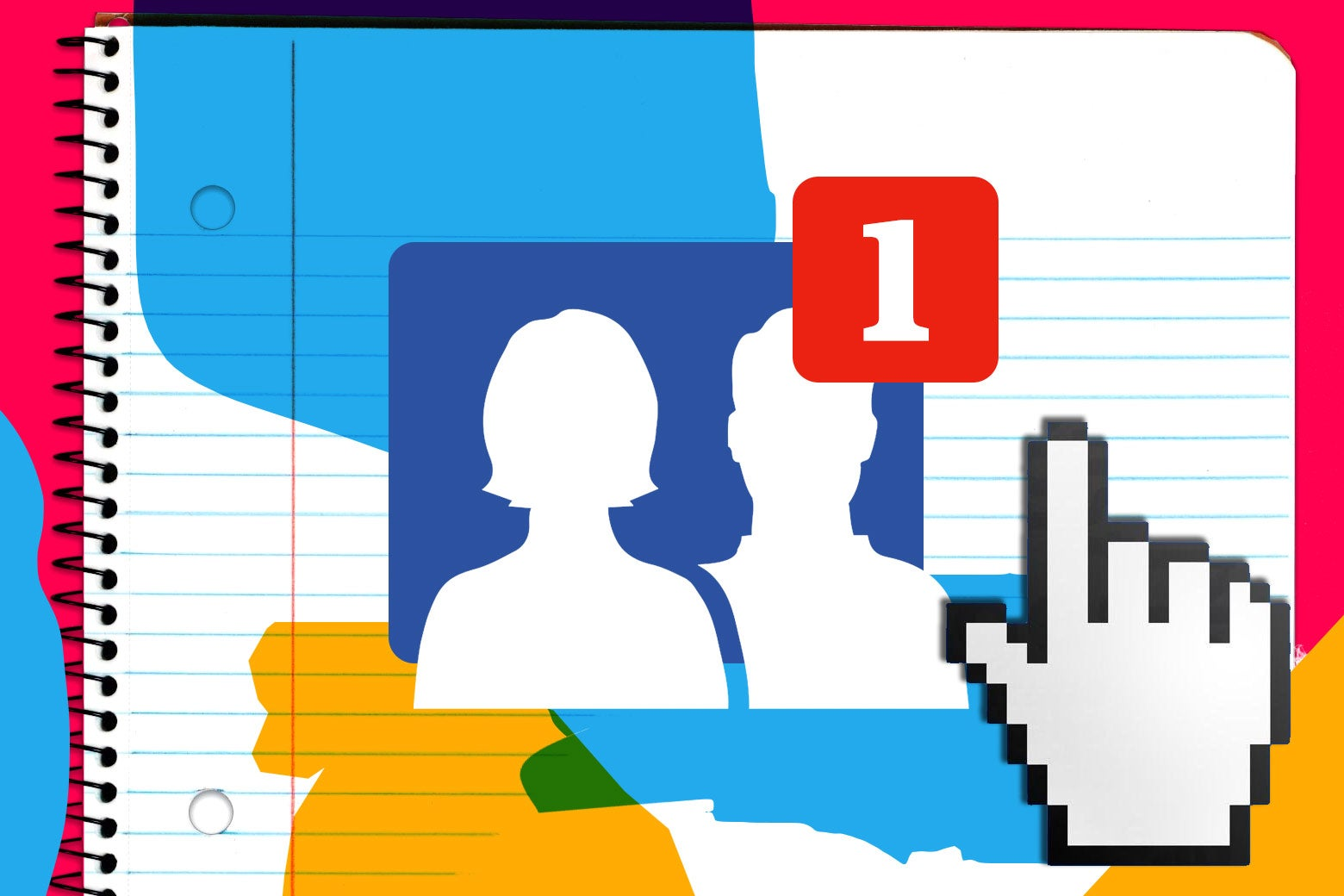 A cursor hovering over a Facebook icon displaying a new friend request, on a background of loose-leaf paper.
