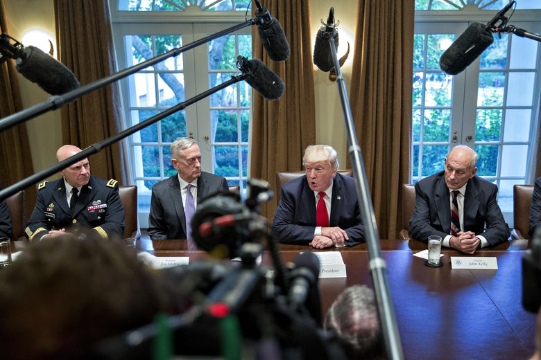 WASHINGTON, DC - OCTOBER 5:  U.S. President Donald Trump (C), national security advisor H.R. McMaster (L), White House chief of staff John Kelly (2nd L) and Defense Secretary Jim Mattis (R) attend a briefing with senior military leaders in the Cabinet Room of the White House October 5, 2017 in Washington, D.C. Mattis said this week that the U.S. and allies are 'holding the line' against the Taliban in Afghanistan as forecasts of a significant offensive by the militants remain unfulfilled.  (Photo by Andrew Harrer-Pool/Getty Images)