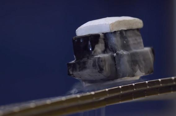 superconductor puck floating over a track