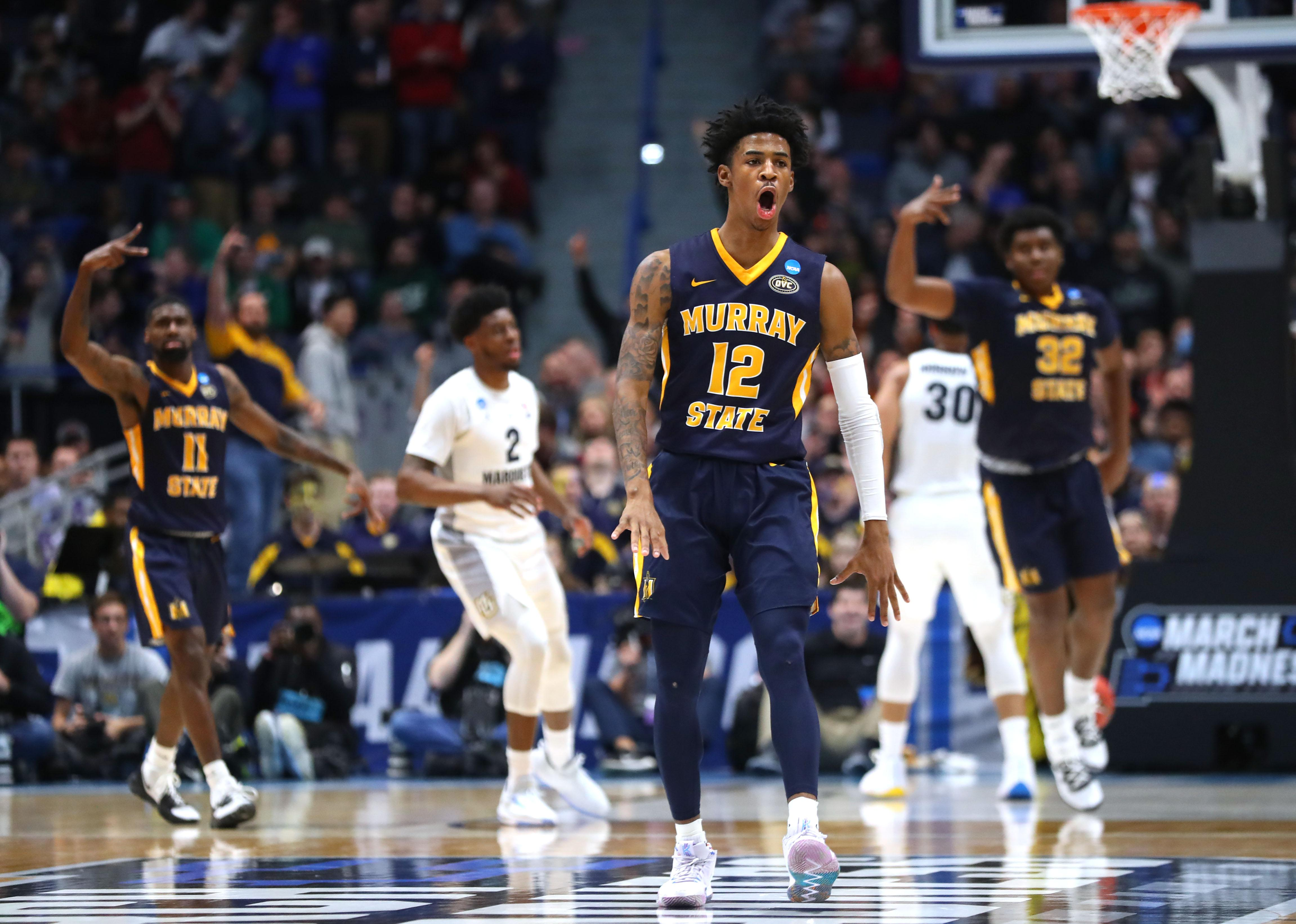 HARTFORD, CONNECTICUT - MARCH 21:  Ja Morant #12 of the Murray State Racers celebrates scoring at the end of the first half during the first round game of the 2019 NCAA Men's Basketball Tournament against the Marquette Golden Eagles at XL Center on March 21, 2019 in Hartford, Connecticut. (Photo by Maddie Meyer/Getty Images)