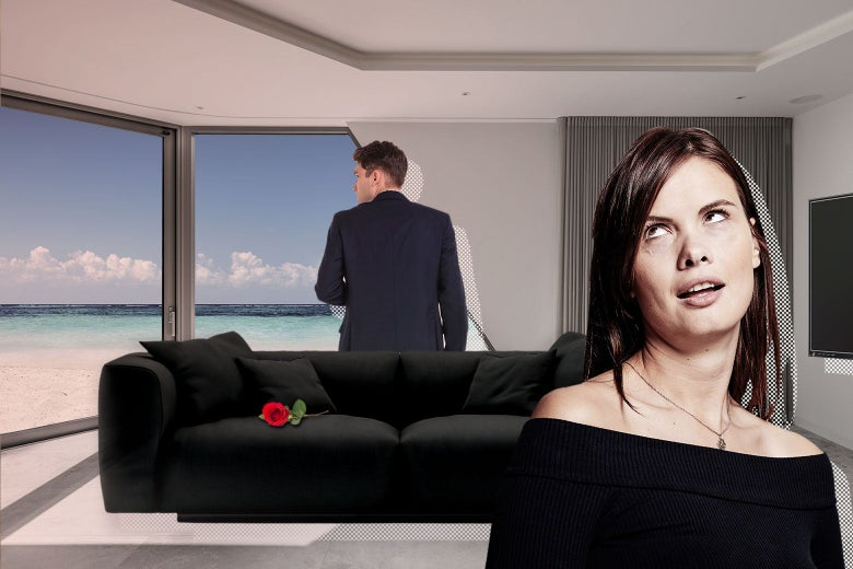 A collage image depicts a condo with ocean views, a black couch, and a big TV. A man in a suit is in the background and a woman in the foreground rolls her eyes.