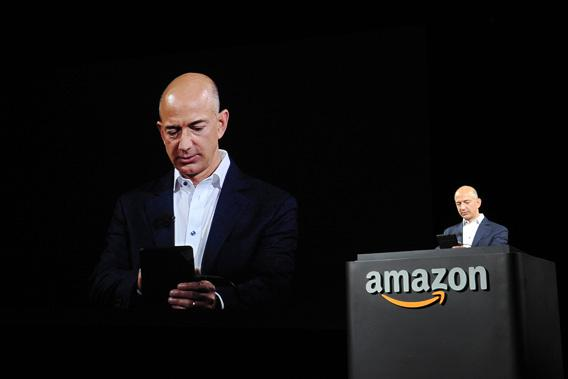 Jeff Bezos, CEO of AMAZON, introduces new Kindle Fire HD Family during an Amazon press conference.