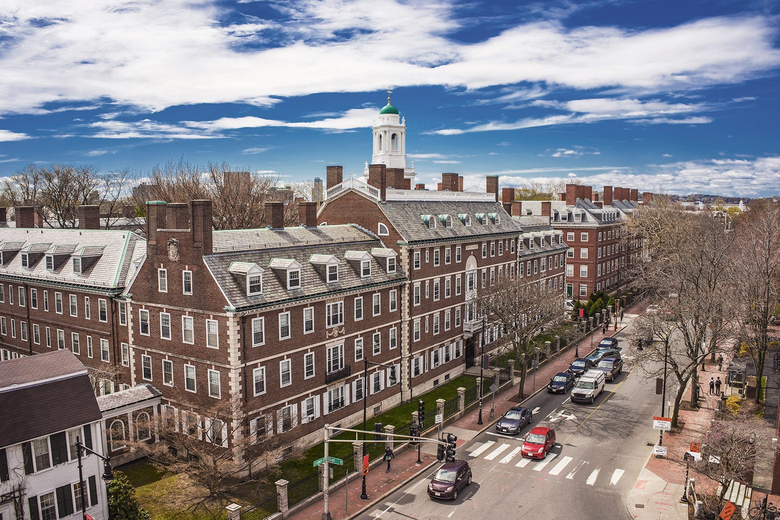 A street and brick building on Harvard's campus.