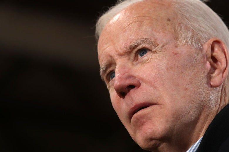 Close-up of Biden's face