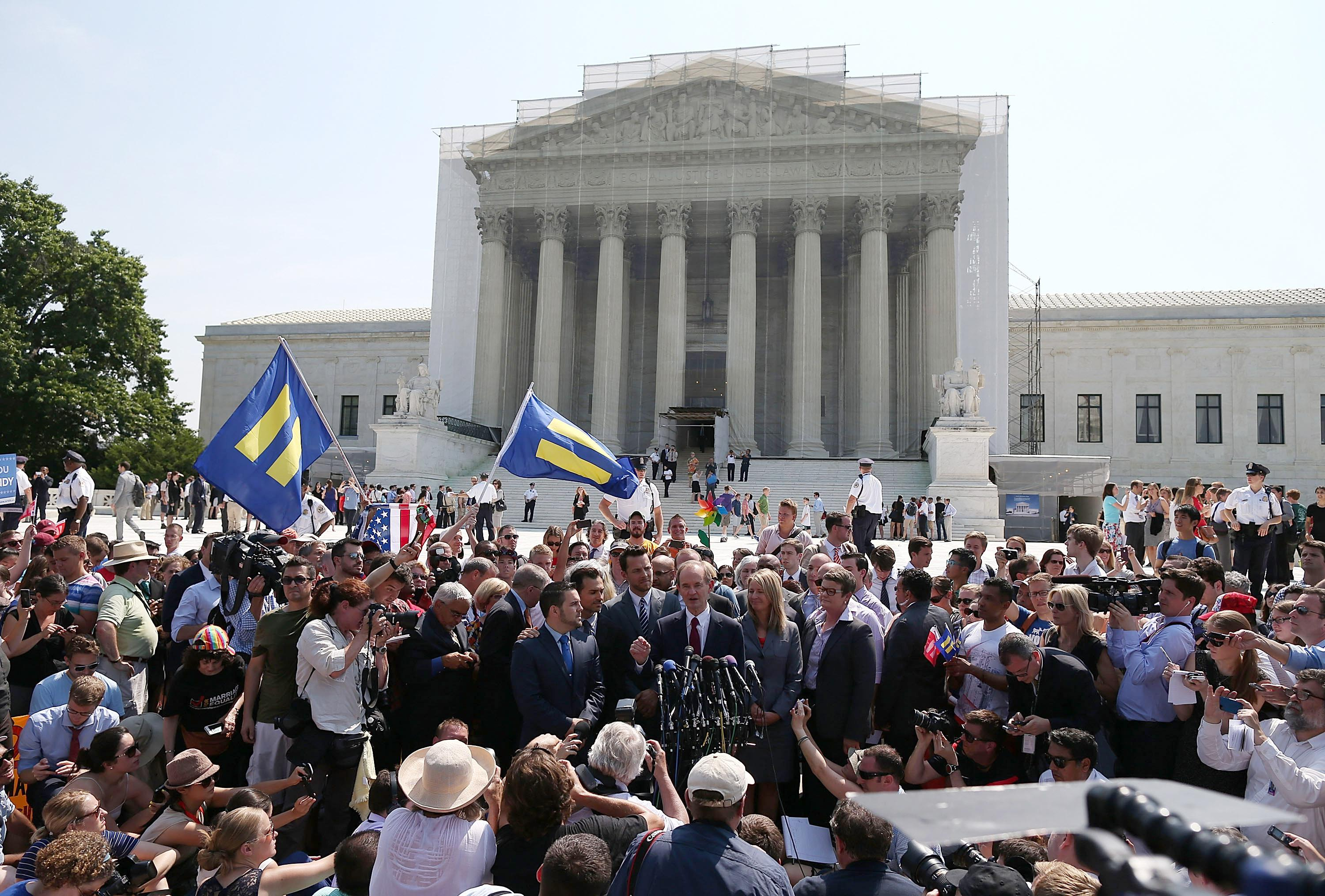 The crowd at the U.S. Supreme Court on June 26, 2013, when the high court struck down the Defense of Marriage Act.