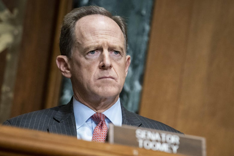 Senator Pat Toomey (R-PA) questions Treasury Secretary Steven Mnuchin during a hearing of the Congressional Oversight Commission on December 10, 2020 on Capitol Hill in Washington, D.C.