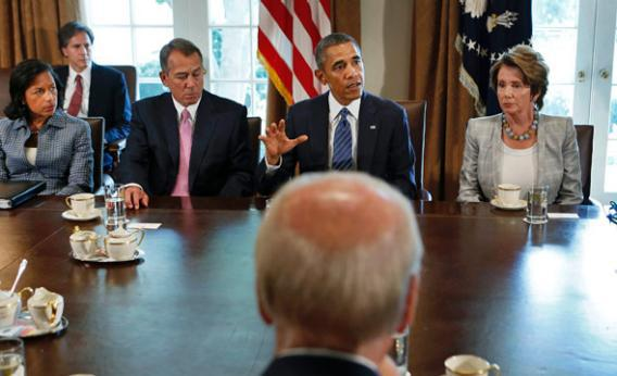 U.S. President Obama (rear C) meets with bipartisan Congressional leaders in the Cabinet Room at the White House in Washington to discuss a military response to Syria, September 3, 2013.