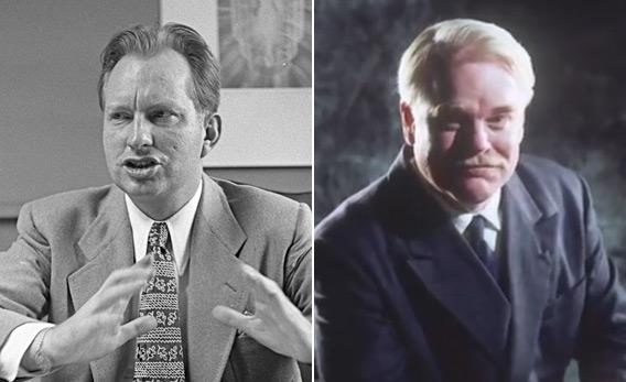 "L. Ron Hubbard and Philip Seymour Hoffman in ""The Master."""
