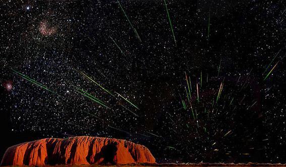 Leonids over Australia's Uluru