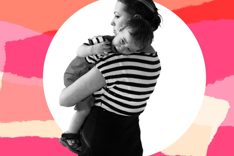 Photo illustration of a woman carrying a visibly upset baby.