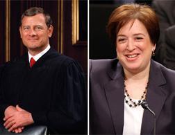 Cheif Justice John Roberts (L) and Supreme Court Nominee Elena Kagan (R).