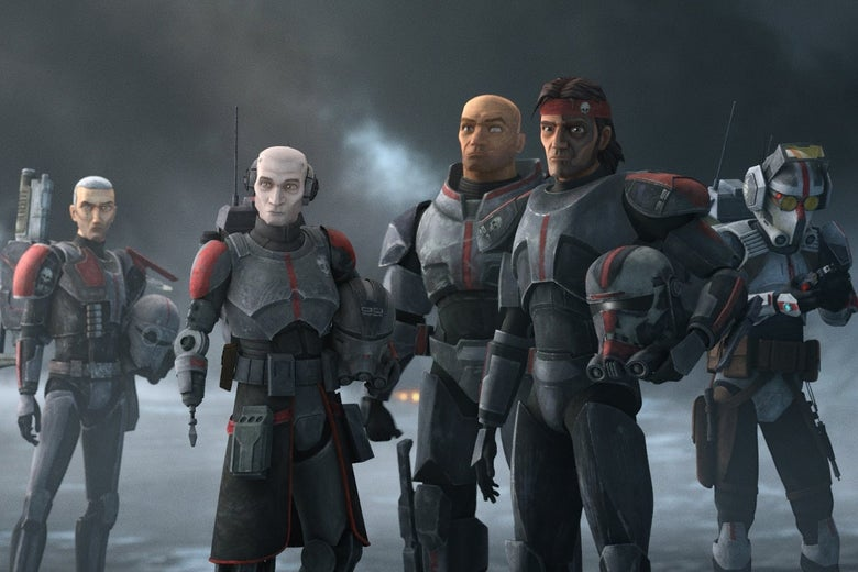 In an animated style, from left to right: a slender, white haired clone; a pale clone with a prosthetic arm; a large, muscular clone; a long-haired man with a tattooed face; and a figure wearing a helmet.
