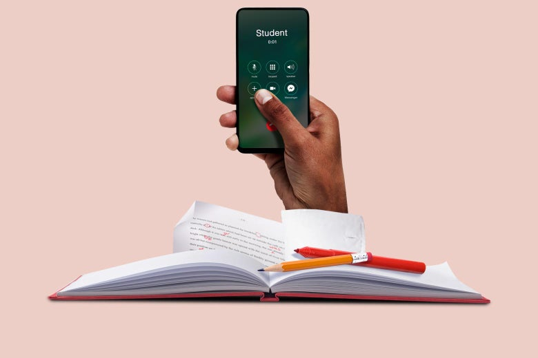 """A hand reaches out of a book holding a cellphone on a call with """"Student."""""""