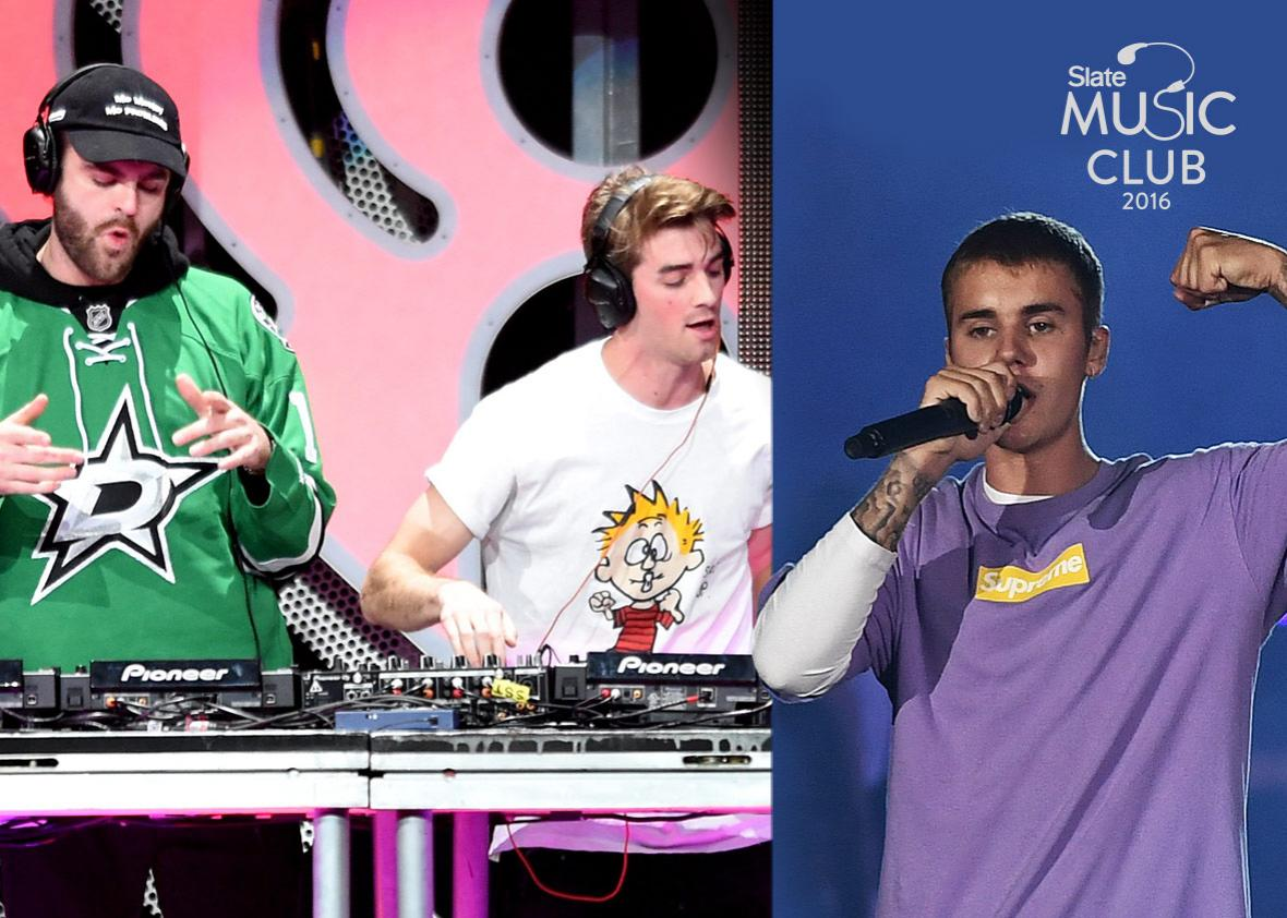 Recording artists Alex Pall (L) and Andrew Taggart of music group The Chainsmokers in 2016 and Justin Bieber performs in 2016.