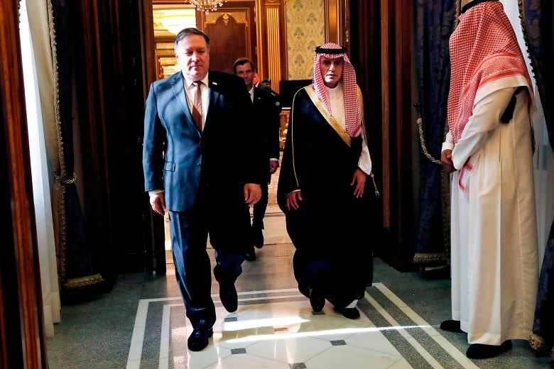 U.S. Secretary of State Mike Pompeo meets with Saudi Foreign Minister Adel al-Jubeir.