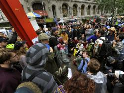Demonstrators with 'Occupy Wall Street' protest at Zuccotti Park.