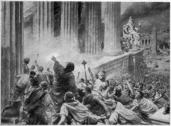 The Burning of the Library at Alexandria in 391 AD, illustration from 'Hutchinsons History of the Nations', 1910 lithography.