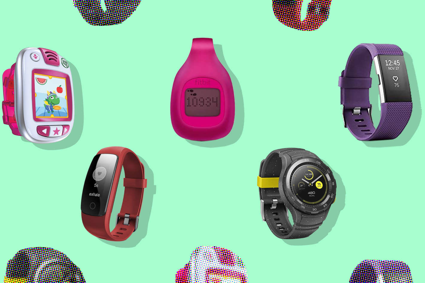 Collage of fitness trackers.