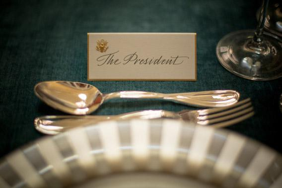 The place card for U.S. President Barack Obama sits ready for the Inaugural Luncheon in Statuary Hall on inauguration day at the U.S. Capitol building January 21, 2013 in Washington D.C.