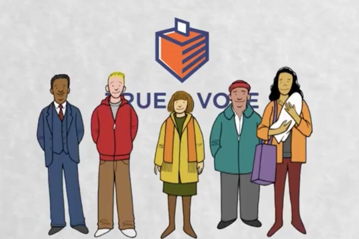 Five animated people are seen in front of the True the Vote logo and a drawing of a ballot box.