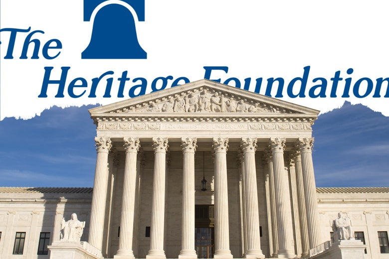 Picture of the Supreme Court with the Heritage Foundation logo superimposed.