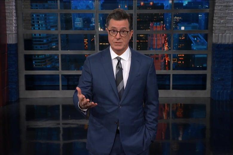 Stephen Colbert, looking incredulous.