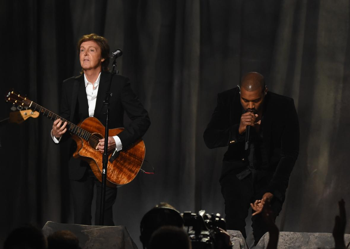 Paul McCartney and Kanye West performing together at the 2015 Grammys.